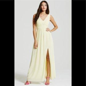 NWT Little Mistress Size L Lemon Color Maxi Dress